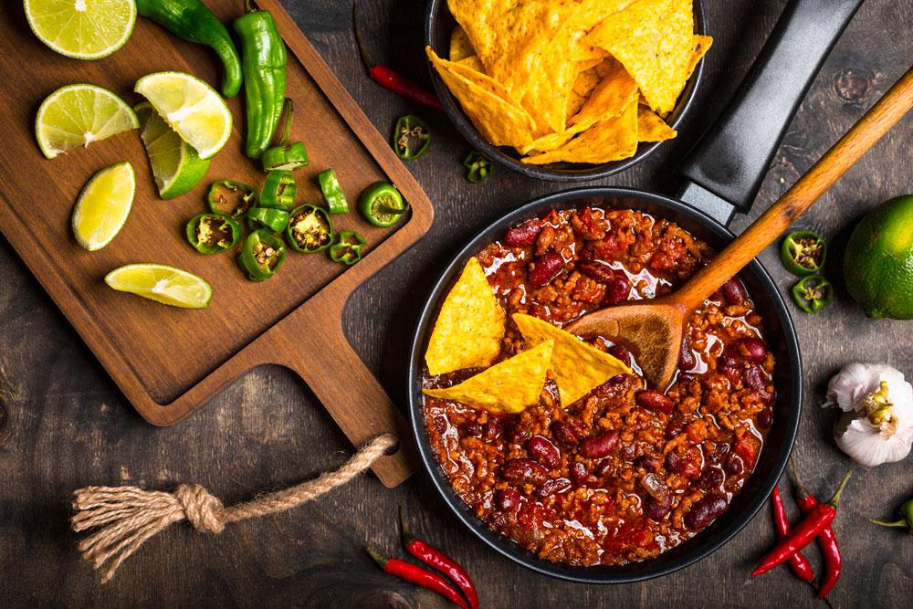 chili con carne, fagioli e spezie