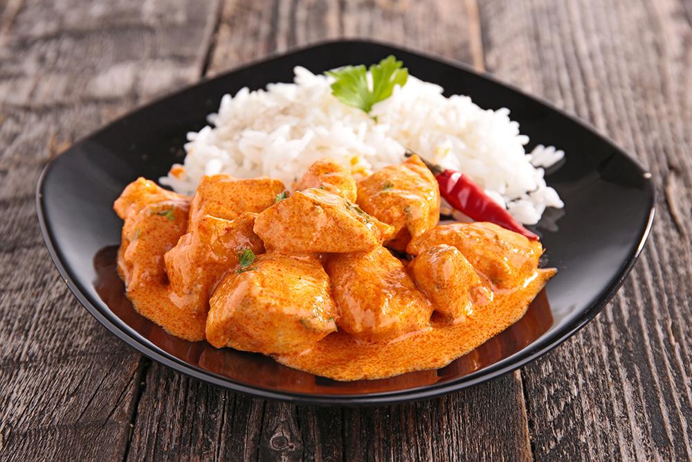 Riso con spezzatino di manzo e curry