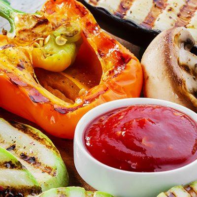 verdure alla griglia con salsa ketchup