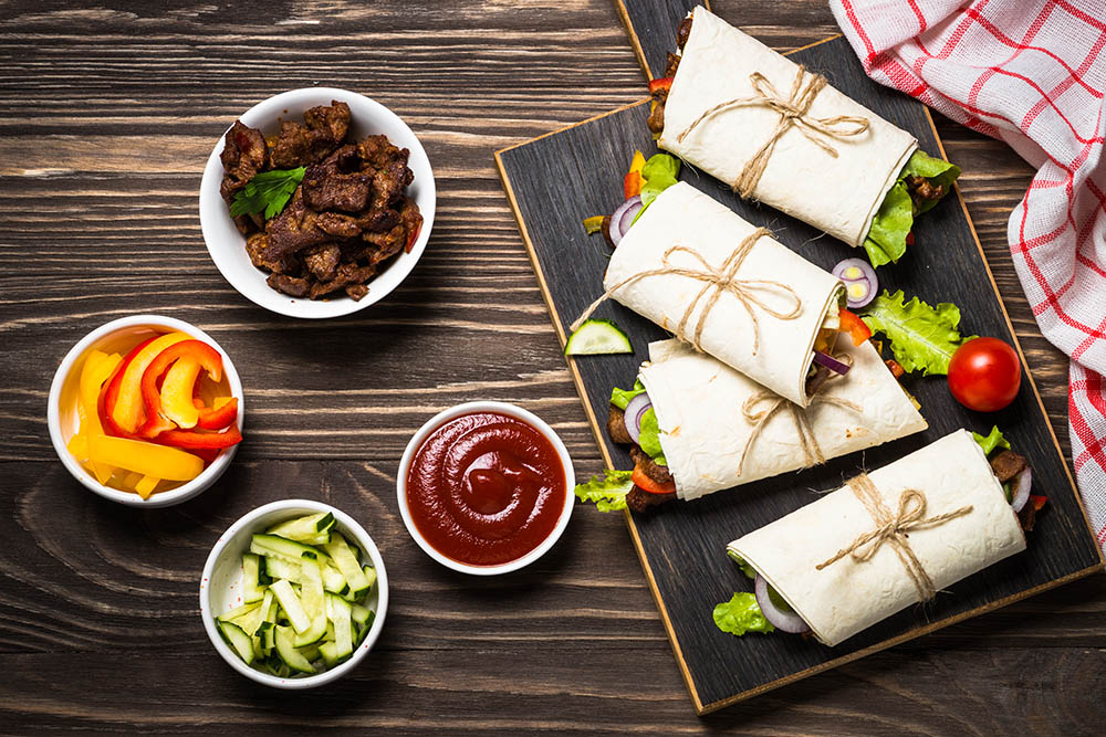 wrap con salsa barbecue