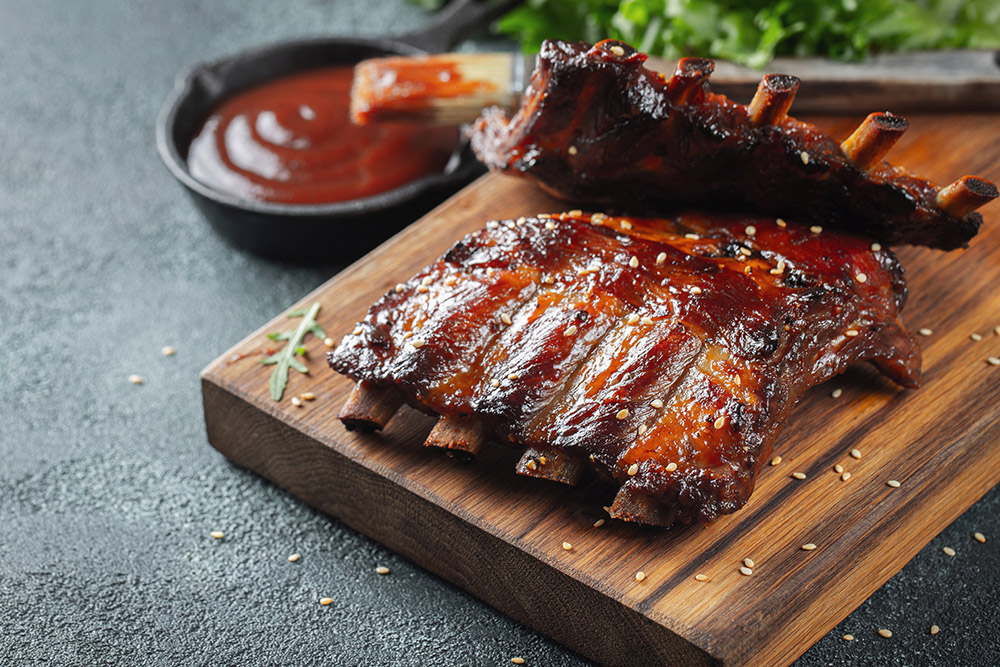 costine con barbecue - ribs - barbecue americano