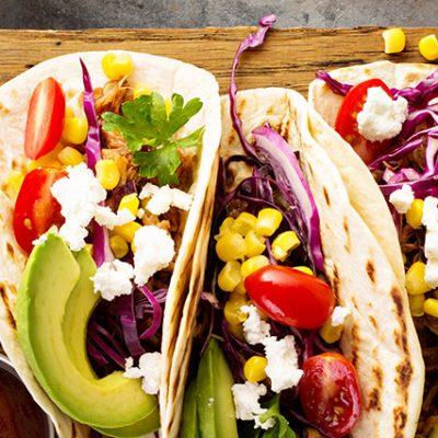tacos vegetariani e salse